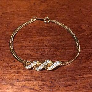 Avon Goldtone CZ Twist Bracelet